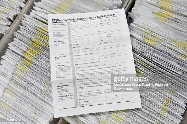 Blank application for Mail-in Ballot with some of the applications that were already received. At the Berks County Office of Election Services in the...