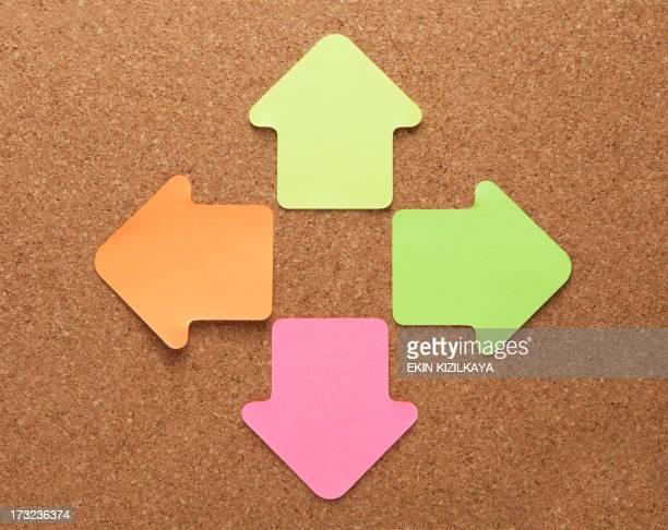 Blank arrow shape note paper on cork board