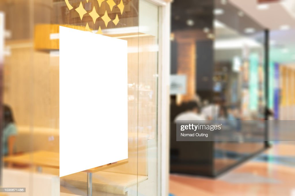 Blank banner on window glass template. : Foto de stock