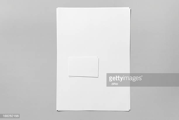 Blank basic stationery. Letterhead and business card.