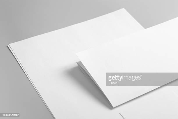Artigos de papelaria básica em branco. Timbrado plano, Cartão de Negócios e dobrada.