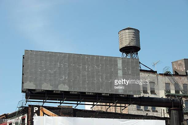 blank billboard and water tower