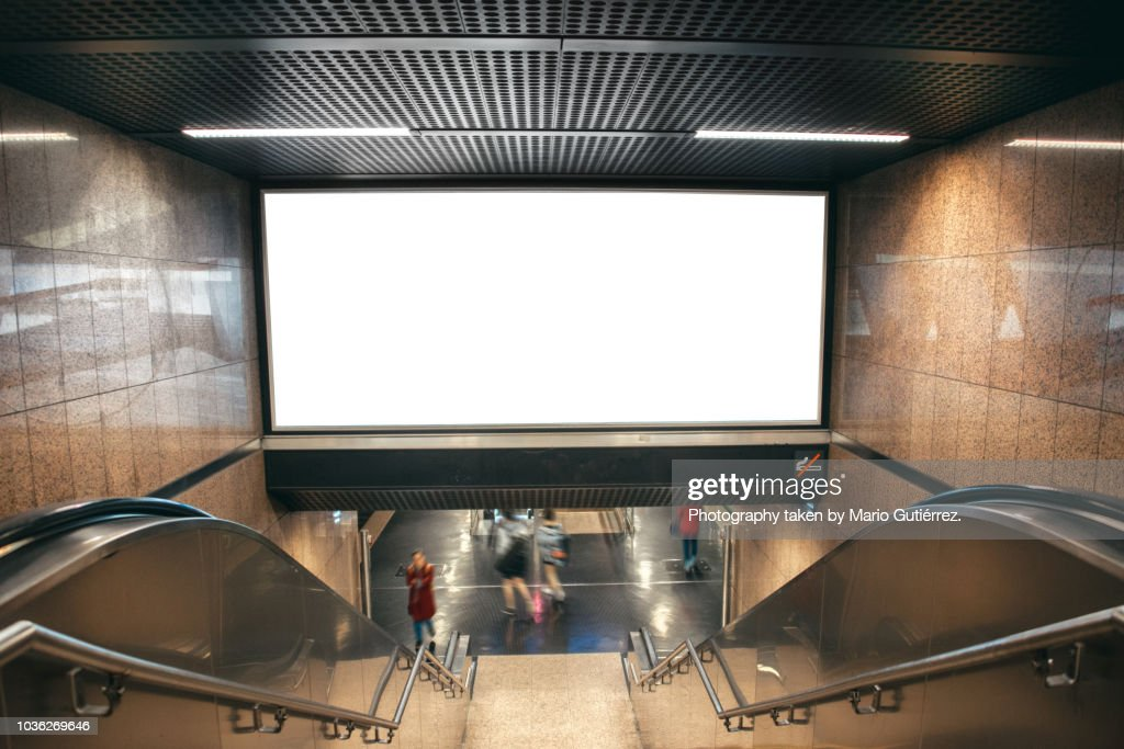 Blank billboard at subway station : Stock Photo