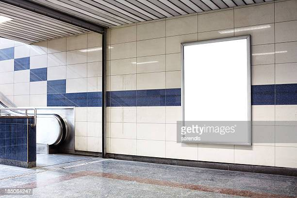 blank billboard in a subway station wall. - subway station stock pictures, royalty-free photos & images