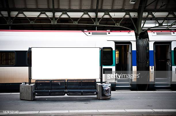 blank billboard in a train station - railway station stock pictures, royalty-free photos & images