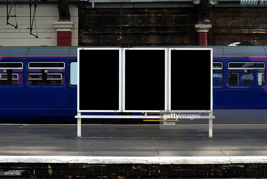Blank billboard in train station : Stock Photo