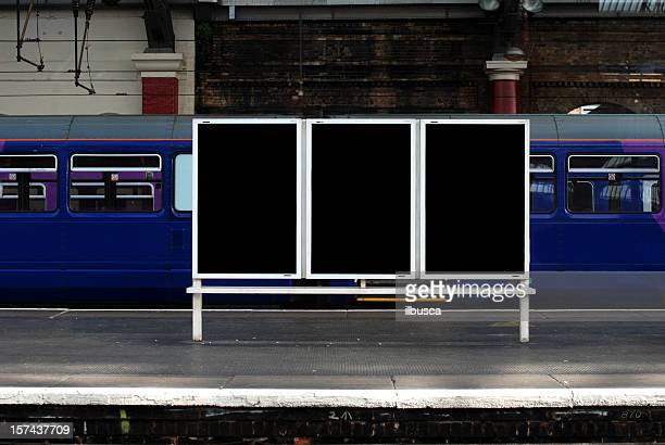 blank billboard in train station - railway station stock pictures, royalty-free photos & images
