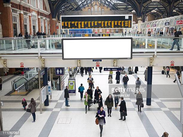 blank billboard, liverpool st station, london,  uk - railroad station stock pictures, royalty-free photos & images