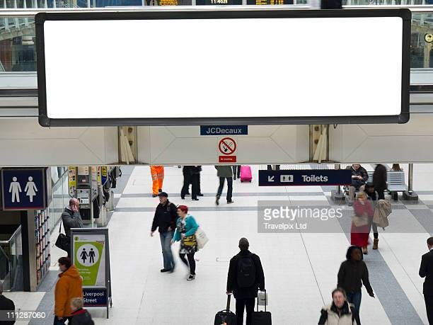 Blank Billboard, Liverpool st Station, London,  UK