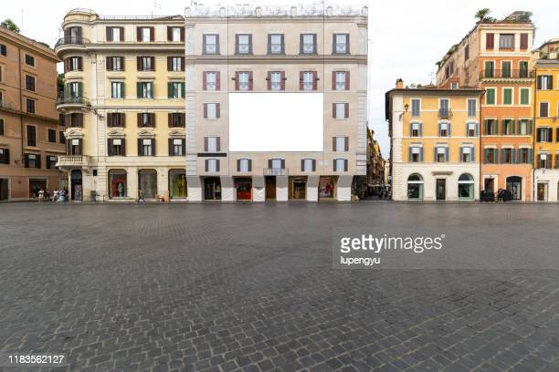 blank billboard on building facade in piazza di spagna,rome - courtyard stock pictures, royalty-free photos & images