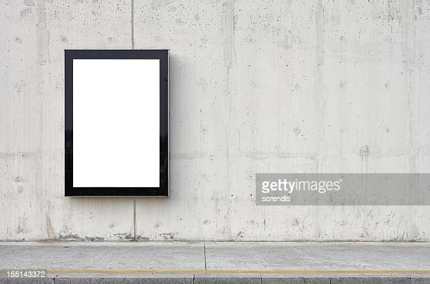 blank billboard on wall. - pavement stock pictures, royalty-free photos & images