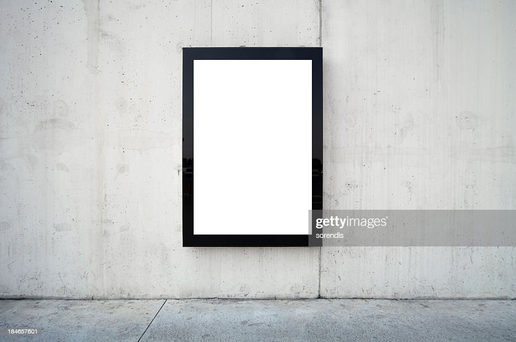 Blank billboard on wall. : Stock Photo