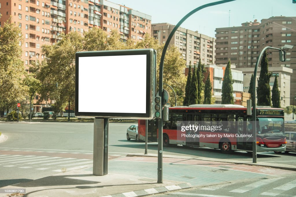 Blank billboard outdoors : Stock Photo