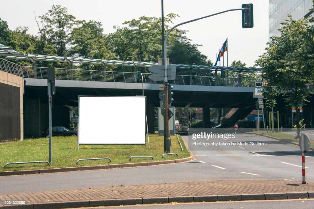 Blank billboard outdoors : Stock Photo