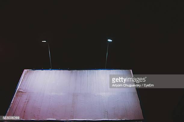 Blank Billboard With Light At Night