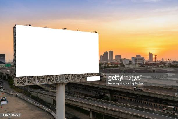 blank billboard,blank billboard with  sky for outdoor advertising poster - billboard stock pictures, royalty-free photos & images