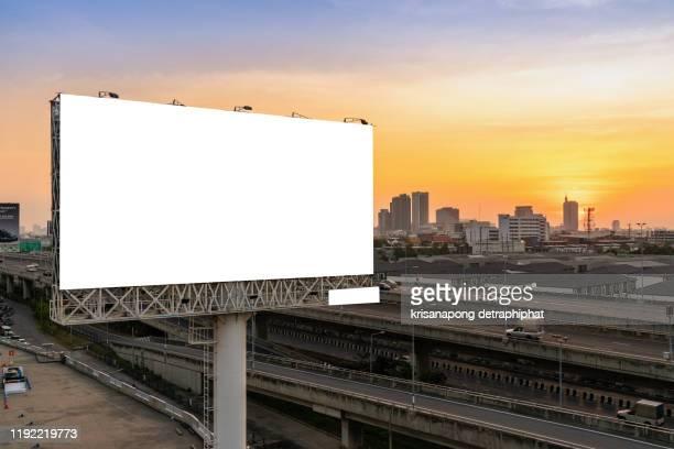 blank billboard,blank billboard with  sky for outdoor advertising poster - outdoors imagens e fotografias de stock