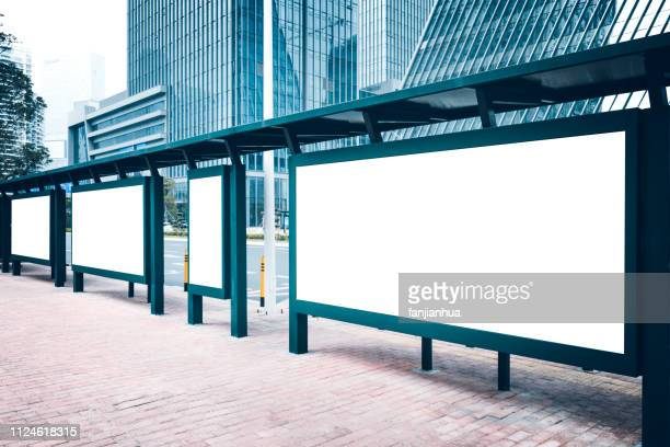 blank billboards at bus stop