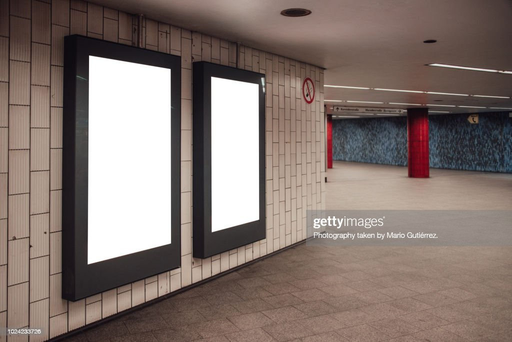 Blank billboards at subway station : Foto de stock