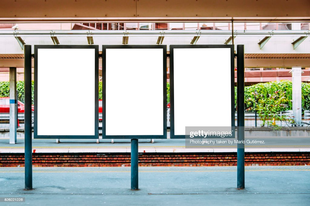 Blank billboards at train station : Stock Photo