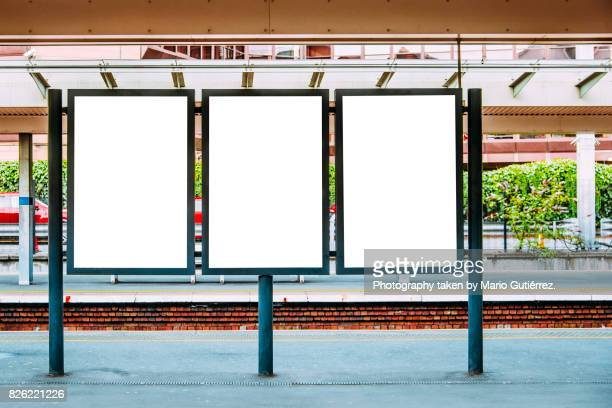 blank billboards at train station - three objects stock pictures, royalty-free photos & images