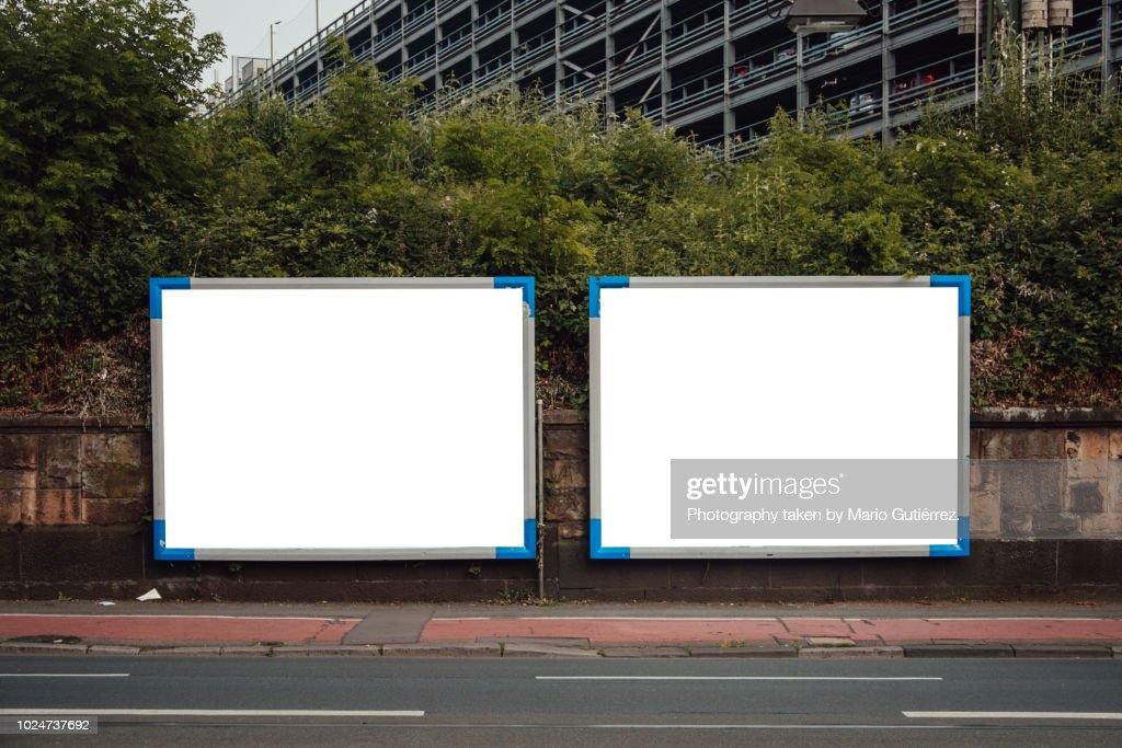 Blank billboards outdoors : Stock Photo
