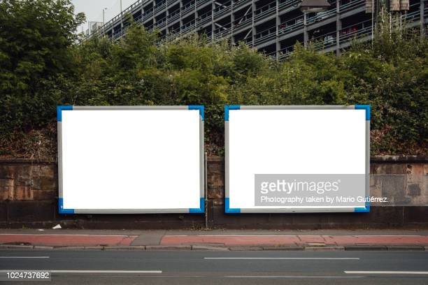 blank billboards outdoors - two objects stock photos and pictures