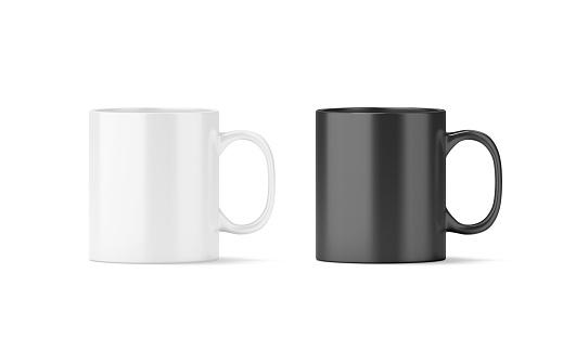 Blank black and white glass mug mockup isolated 664587996