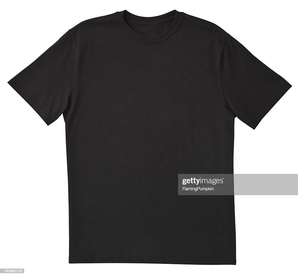 Blank Black T-Shirt Front with Clipping Path. : Stock Photo
