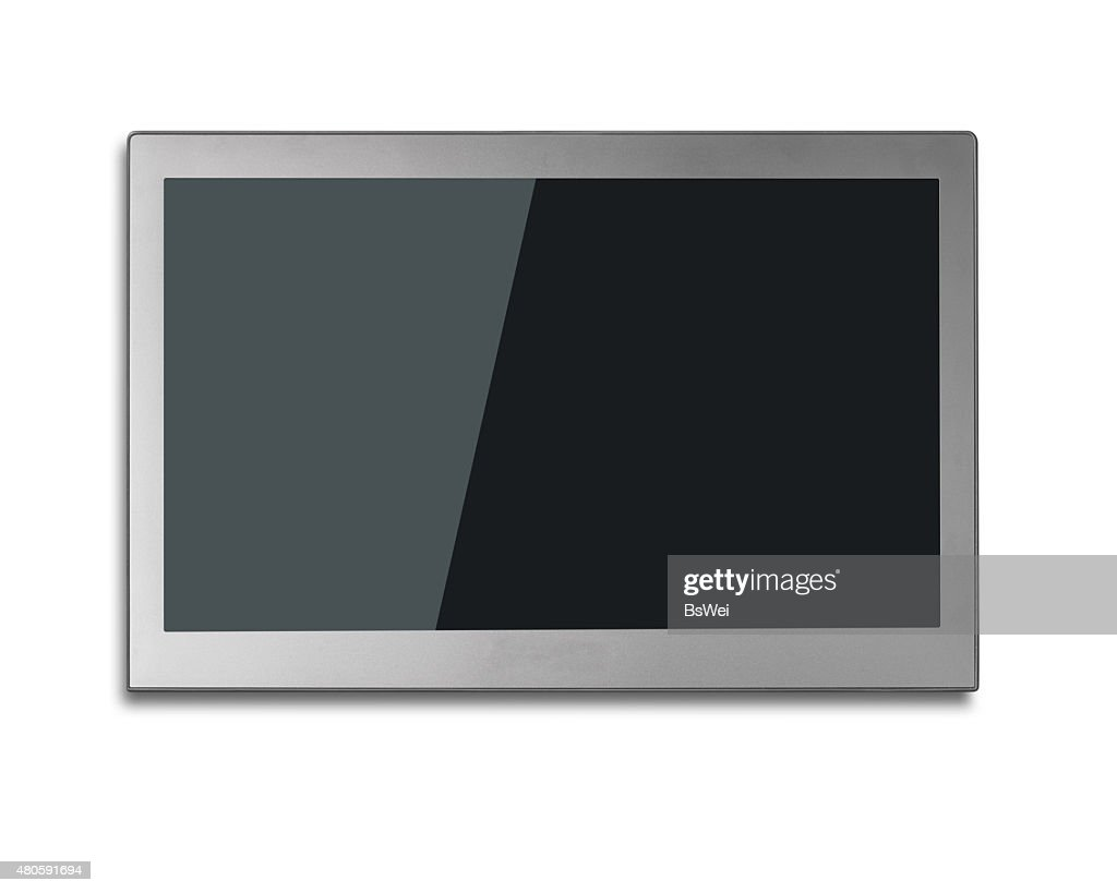 Blank black wide flat TV screen isolated on white : Stock Photo