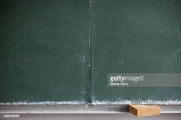 Blank blackboard and sponge