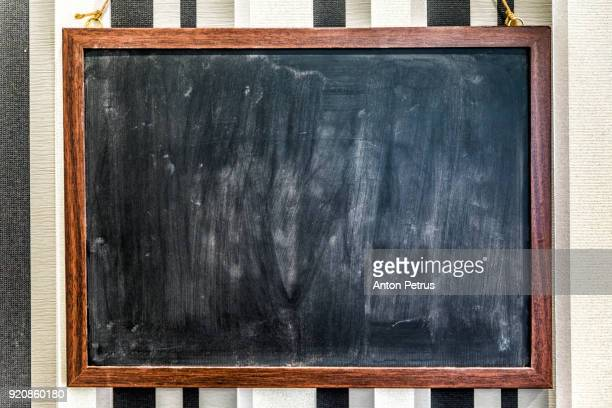 blank blackboard in the kitchen - blackboard stock photos and pictures