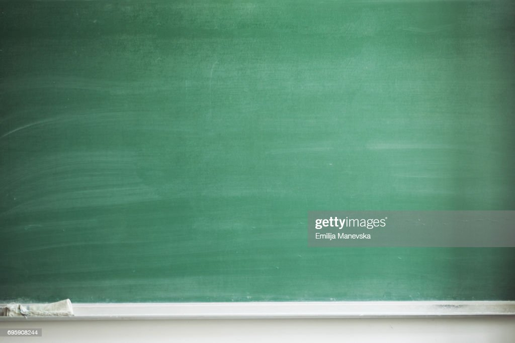 Blank blackboard with board eraser : Stock Photo