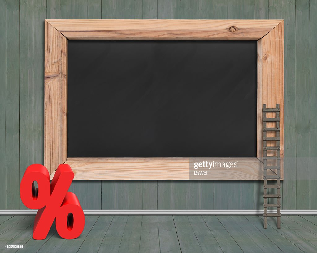 Blank blackboard with red percentage sign wood ladder : Stock Photo