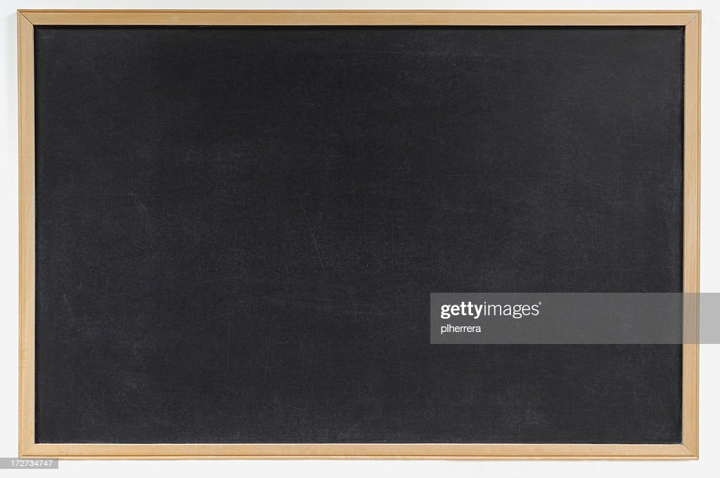Blank blackboard with wooden frame background : Stock Photo