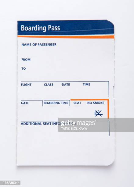 Blank blue and orange boarding pass