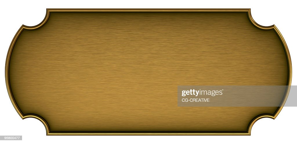 Blank brass plaque on a white background : Stock Photo