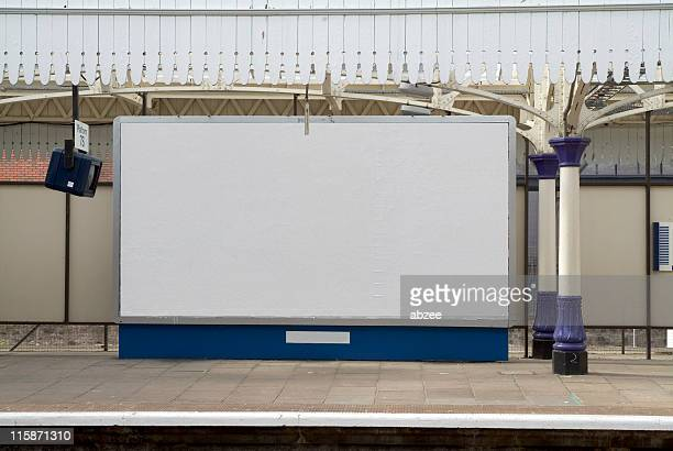 Blank british billboard at a railway station