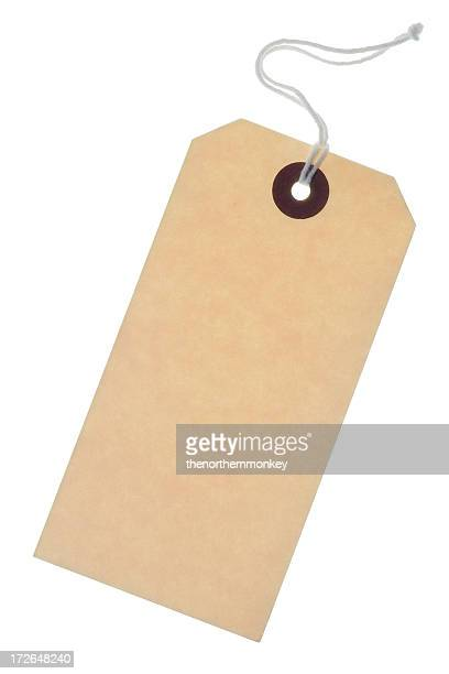 Blank brown card label with string