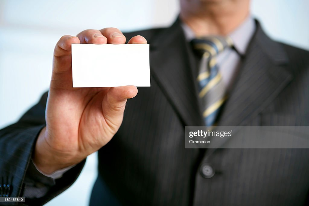 Blank Business Card In A Hand Stock Photo | Getty Images