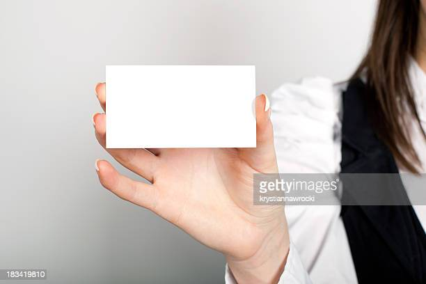 Leere Visitenkarte in einer hand