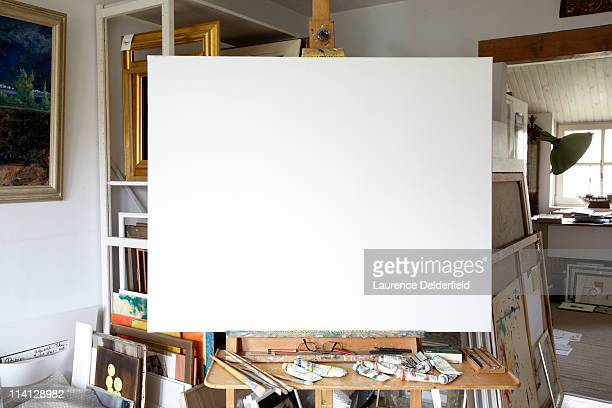 blank canvas in artist's studio