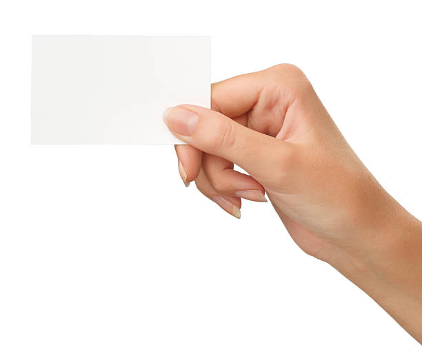 blank card in a hand - hand stock pictures, royalty-free photos & images