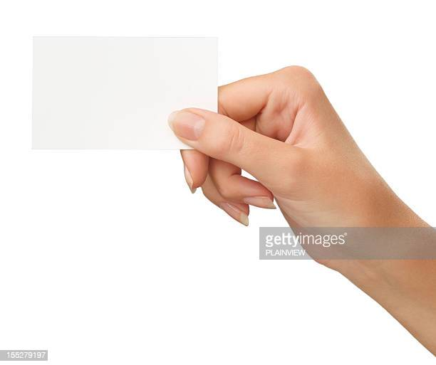 blank card in a hand - greeting card bildbanksfoton och bilder