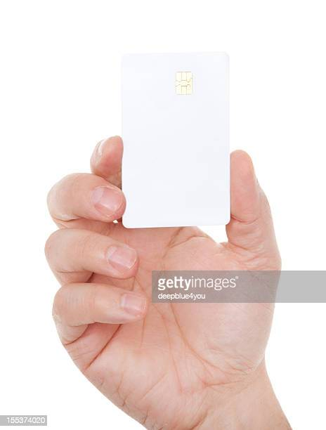 Blank card in male hand on white