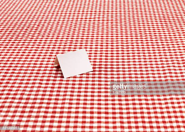 Blank Card On The Checkered Tablecloth