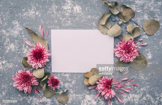 Blank card with flowers