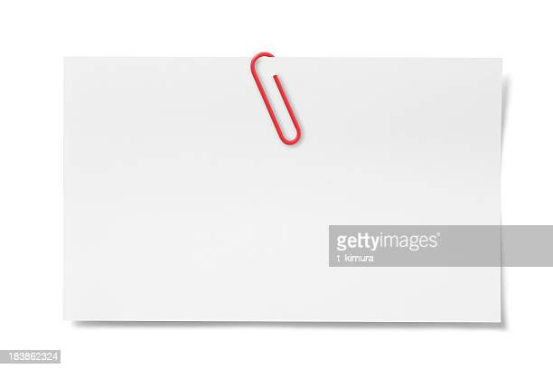 blank card with paper clip - clip stock pictures, royalty-free photos & images