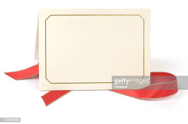 Blank card with red ribbon