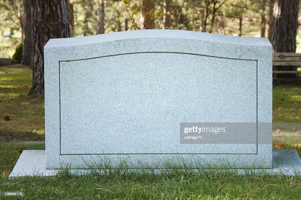Blank Cemetery Headstone Close Up, No Name : Stockfoto